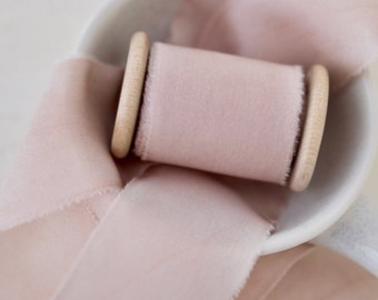 DUSTY ROSE - Hand Dyed Habotai Silk Ribbon - 0.5, 1.5 and 2.5 inches width - 2.5 metres or 5 metres/ 5.4 yards - wedding bouquet, invitation
