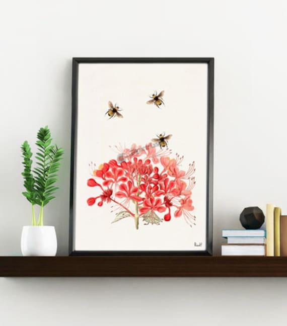 Bees with Geranium flowers, Wall art, Wall decor, Home decor, Print, Poster, Floral art, Bees wall decor, Bee print art,  BFL001WA4