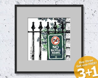 NEW YORK SKETCH #04, Central Park Fencing, No Bicycle Riding, Prohibited Sign, Instant Download, Ready for Printing, Home Decor, Wall Art