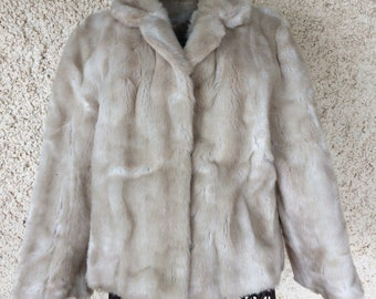 Genuine Vintage 1970s French Faux Fur Ladies Jacket Size 14 by Tissavel of France