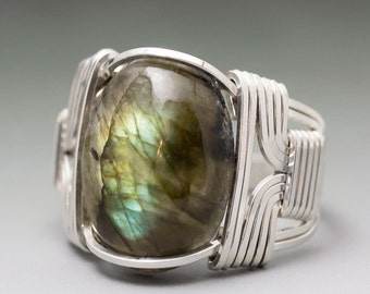 Labradorite Spectrolite Gemstone Cabochon Sterling Silver Wire Wrapped Ring - Made to Order and Ships Fast!