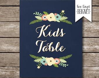 "Kids Table Wedding Sign - Wedding Sign - Vintage Floral - Custom Wedding Sign - Custom Color - Fall Winter Wedding - 8x10"" and 18x24"""