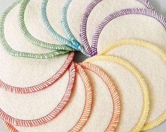 BULK. 100 reusable hemp cotton rounds makeup remover facial cleansing pads eco-friendly Rainbow