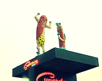 Chicago Photography, vintage neon sign photo, Chicago hot dogs, art, retro, kitsch, americana, men, 11x14 Signed Print - SUPERDAWG