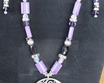 Pendent Necklace and Earrings