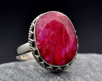 Ruby Red Ring 925 Sterling Silver  Oval Stone Handmade Unique Design