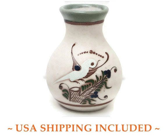 Mexican Tonal Sandstone Vase With Tree And Dove Designs