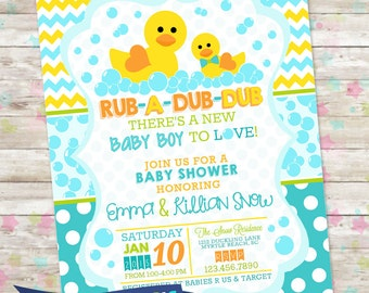 Rub-A-Dub-Dub Baby Shower, Baby Boy Invite, Rubber Duck Baby Shower, Bubbles, Duck Invitation, Printable DIY, Rubber Duck Baby Shower,