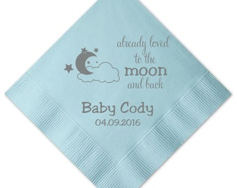 Already Loved to the Moon and Back Baby Shower Napkins