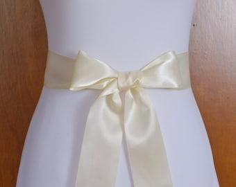Ivory Satin Bridal Sash - Ivory Wedding Sash - Double Face Satin Sash - Ivory Bridal sash for Dress - Ivory Bridal Sash Belt