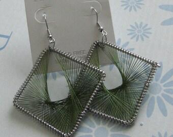Earrings style square/diamond-shaped hoop