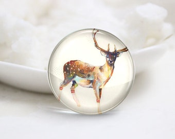 Handmade Round Photo glass Cabochons-Deer (P2917)