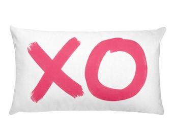 XO Pillow, 12x20,  Hot Pink, Hugs and Kisses Pillow, Love Pillow, XO Throw Pillow, Hot Pink Nursery, XO Accent Pillow, Hot Pink Baby Nursery