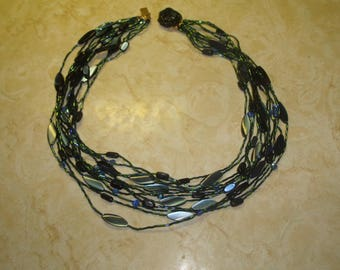 vintage necklace multi strands blue green glass beads