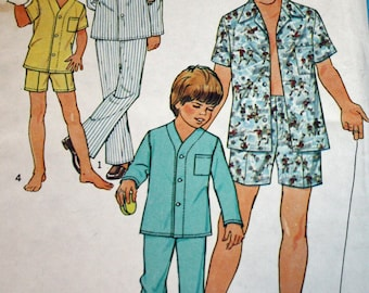 UNCUT, Vintage, 1980s, Sewing Pattern, Simplicity 9509, Boys', Pajamas, Two Lengths, Size 6 and 8, Sleepwear, OLD2NEWMEMORIES