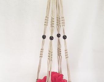 Macrame Plant Hanger 46 inch Vintage strong 6mm Pearl Cord with BEADS (Choose Color)