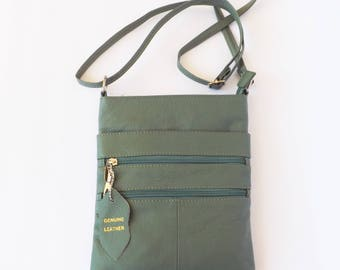 READY TO SHIP Leather Bag, Leather Crossbody Bag, Small Leather Bag, Green Leather Purse, Genuine Leather Bag, Shoulder Bag, Women Bag