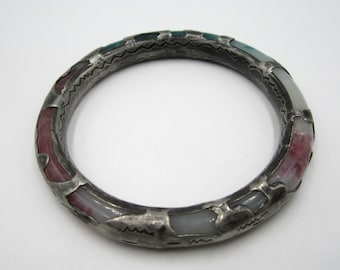 Antique Chinese Peking glass & sterling silver bangle