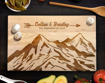Mountain landscape with Custom Names and Date Cutting Board Wedding, Special Occasion Gift Laser Engraved Maple Cutting Board CB00066