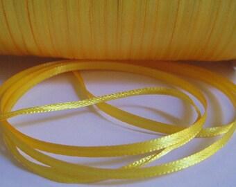20 m yellow 3mm satin ribbon