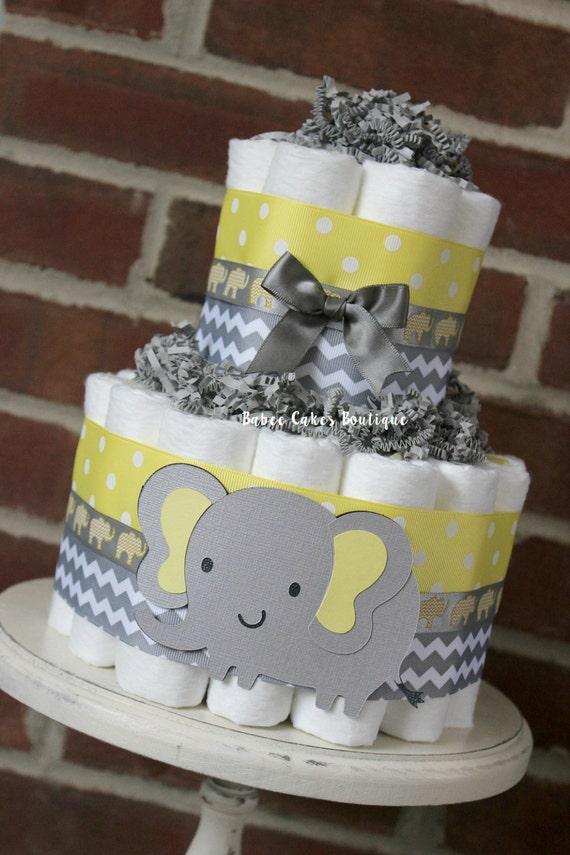 Mini 2 Tier Elephant Diaper Cake Yellow Gray Baby Shower Gender Neutral Centerpiece Grey Chevron Decor