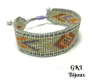 Woven bracelet, cuff bracelet, Miyuki glass beads, Bohemian, sliding macrame loom clasp