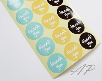 Thank You Seal Sticker in Aqua, Yellow, Black 36pc..2 Sheets in Pack