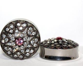 "Diamond Heart Wedding Plugs 1 5/16"" 34mm"
