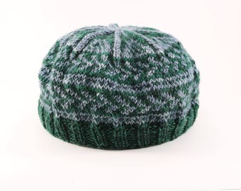 Fair Isle Forest Green and Grey Wool Tam