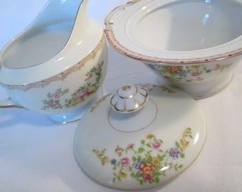 Vintage Mismatched China Sugar Bowl & Creamer Set, Tea Party, Tea Set, Wedding, Bridal Lucheon, Shabby, Cottage Chic
