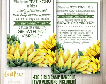 Girls camp handouts - Testimony is like a seed quote  INSTANT download  / Young Women LDS quotes