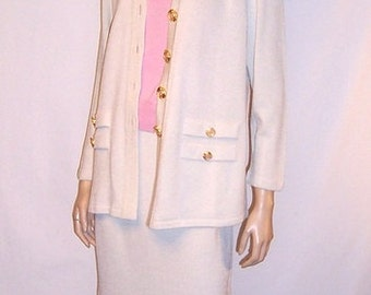"""Women's Three Piece Ensemble in Wintry White and Peony Pink by """"Toula"""""""