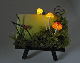 Commissioned Original 2.5x3.5 LED Glowing Mushrooms, Mossy Forest, Mini Mixed Media Painting by J. Mandrick
