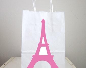 Eiffel Tower Goody Bags, Eiffel Tower  Favor Bags, Eiffel Tower Gift Bag, Eiffel Tower Favor, Paris Birthday, Paris Baby Shower, Pink Eiffel