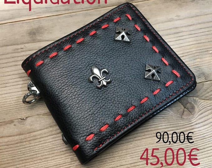 Biker Leather Wallet Chain / Lys Red