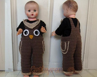 Not Physical item-Baby Owl Overalls,Halloween Costume, Buttons at Legs for Easy Change - INSTANT DOWNLOAD Crochet Pattern