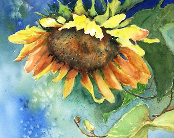Sunflower - Watercolor - Print