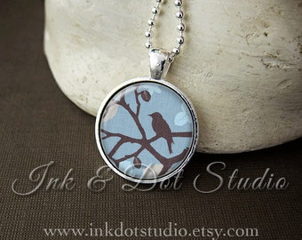 Bird on a Branch Necklace, Blue and Brown Bird Pendant, Bird Necklace, Original Digital Art