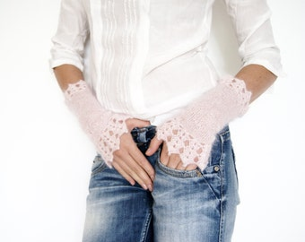 Pink Wrist Warmers, Fingerless Gloves Knit Hand Warmers, Texting Gloves, Lace Arm Warmers, Winter Gloves Armwarmers, Knit Fingerless Gloves