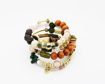 Boho Stacked Bracelet--Cuff Bracelet--Hippie--Gypsy Style--Repurposed--Blush Pink/Green--Vintage--Eco Friendly--Upcycled--Trending--Gold