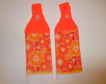 crochet kitchen towel, summer towel, fruit, oranges