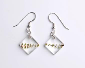 Resin earrings-true fern leaf-