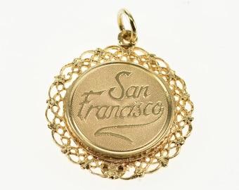 14k Scroll Design Trim San Francisco Souvenir Charm/Pendant Gold
