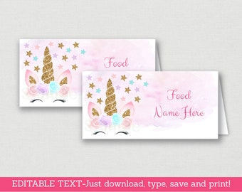 Unicorn Birthday Tent Cards / Food Labels / Place Cards / Unicorn Birthday / Pink & Gold / INSTANT DOWNLOAD Editable PDF A451