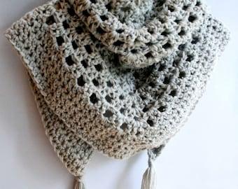 Cowl, chunky, triangular, shawl, scarf, poncho