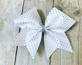 White diamond pattern bow with glitter accents
