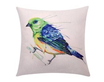 Watercolor bird throw pillow covers Cute bird on branch decorative pillow case Bird cushion cover Linen cushion case Sofa Home decor 18x18