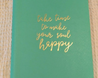Soft faux leather journal with quote