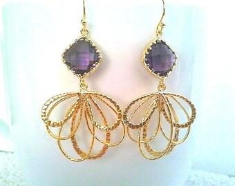 Peacock feather Purple Gold Earrings, Drop, Dangle Earrings, bridal earrings,Wedding jewelry,Gemstone,mother's day Gift
