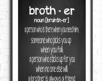 Brother Definition Wall Art, Chalkboard Print, Gift For Brother, Typography, Subway Art, Word Art Print, Brother Present, Home Decor, Unique
